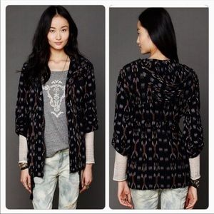 Free People The Ikat Parka Black Hooded Jacket